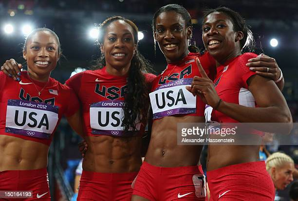 Allyson Felix Sanya RichardsRoss DeeDee Trotter and Francena McCorory of the United States celebrate winning gold in the Women's 4 x 400m Relay Final...