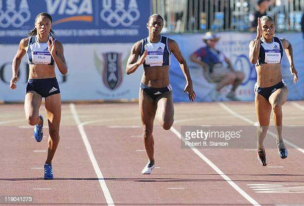 Allyson Felix won the Women's 200 Meters in a time of 2228 at the US Olympic Track Field Team TrialsCalifornia State University SacramentoHornet...
