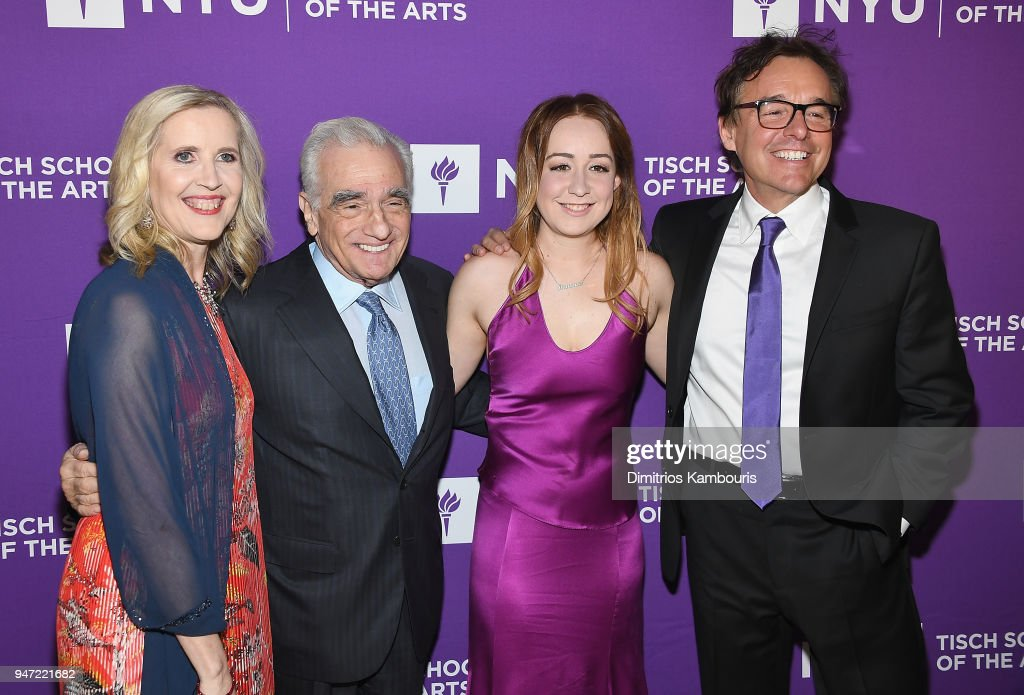 Allyson Green, Martin Scorsese, Eleanor Columbus and Chris Columbus attend The New York University Tisch School Of The Arts 2018 Gala at Capitale on April 16, 2018 in New York City.