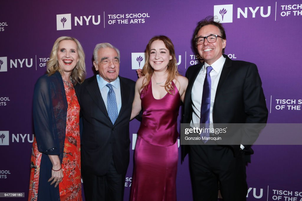Allyson Green, Martin Scorsese, Eleanor Columbus and Chris Columbus during the NYU Tisch School of the Arts GALA 2018 at Capitale on April 16, 2018 in New York City.