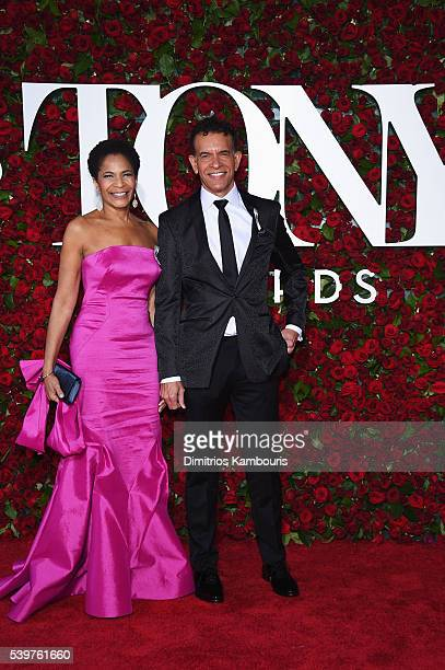 Allyson Tucker and Brian Stokes Mitchell attend the 70th Annual Tony Awards Arrivals at Beacon Theatre on June 12 2016 in New York City
