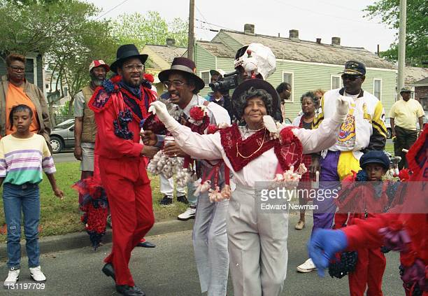 Alma Borden at the Money Wasters parade, New Orleans, La., April, 1992. Note the member of the Bones Gang in costume and with video camera in the...
