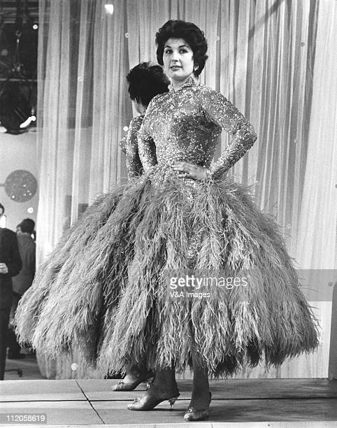 Alma Cogan posed full length on set of 'The Alma Cogan Show' TV show 1957