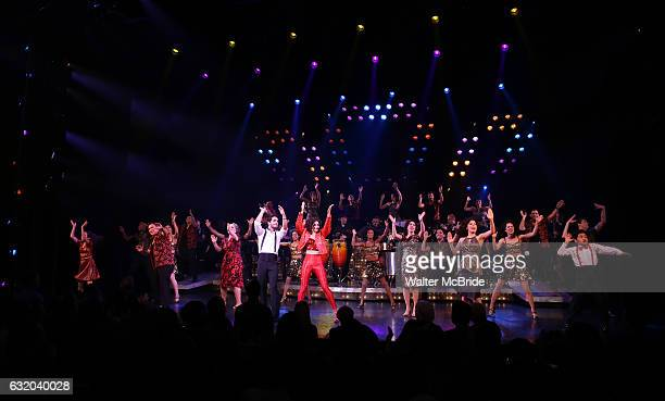 Alma Cuervo Ektor Rivera Ana Villafane Andrea Burns with cast of the Broadway production of 'On Your Feet' celebrate their 500th performance at...