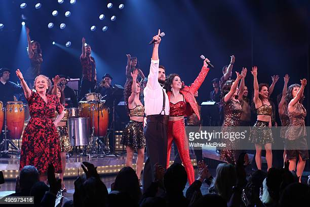 Alma Cuervo Josh Segarra Ana Villafane Andrea Burns and cast during the Broadway opening night curtain call bows for 'On Your Feet' at the Marquis...