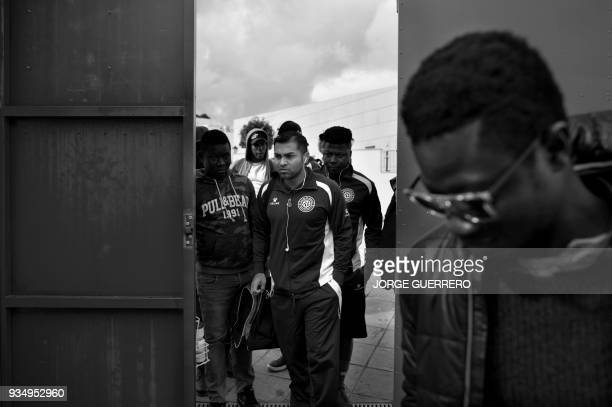 Alma de Africa Union Deportiva players arrive at the Espera CF stadium for football match against Espera CF in Espera on March 18 2018 / STORY...