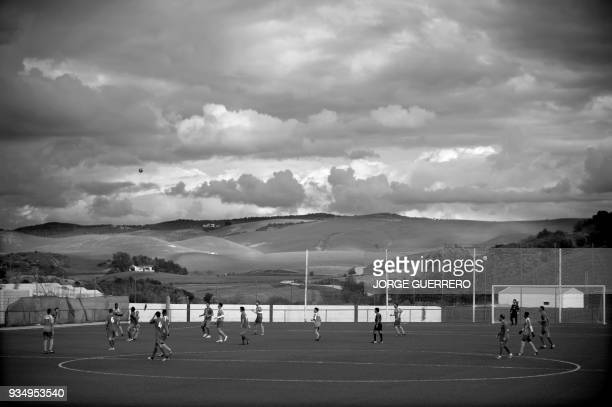 Alma de Africa Union Deportiva team plays against Espera CF during a football match in Espera on March 18 2018 / STORY 'Sporting glory in Spain an...