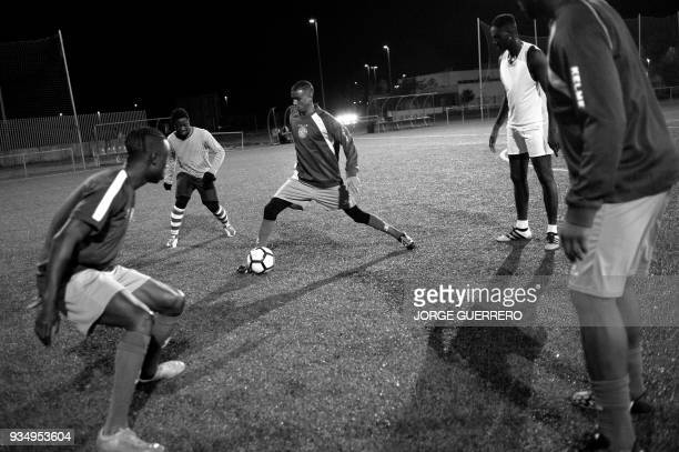 Alma de Africa Union Deportiva's Cameroonian player Karim Issa Abdou attends a training session at the San Telmo Sport Complex in Jerez de la...