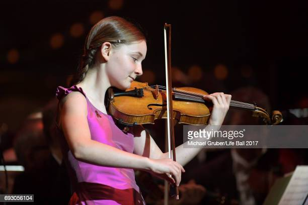 Alma Deutscher performs on stage during the Life Celebration Concert at Burgtheater on June 6 2017 in Vienna Austria The concert marks the opening of...