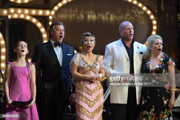 Alma Deutscher Rene Pape Sumi Jo Bo Skovhus and Daniela Fally perform together on stage during the Life Celebration Concert at Burgtheater on June 6...