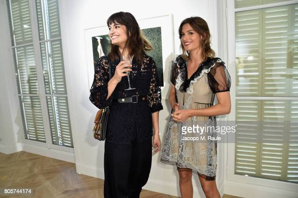 Alma Jodorowsky and Clara Luciani attend Guy Bourdin inaugural exhibition and unveiling of Maison Chloe as part of Paris Fashion Week at Maison Chloe...