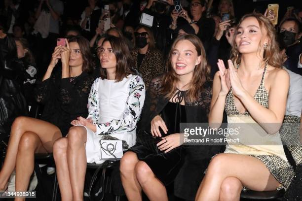 Alma Jodorowsky, Charlotte Casiraghi, Kristine Froseth and Lily-Rose Depp attend the Chanel Womenswear Spring/Summer 2022 show as part of Paris...