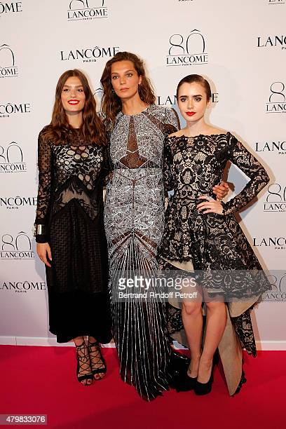 Alma Jodorowsky Daria Werbowy and Lily Collins attends the Lancome 80th anniversary party as part of Paris Fashion Week Haute Couture Fall/Winter...