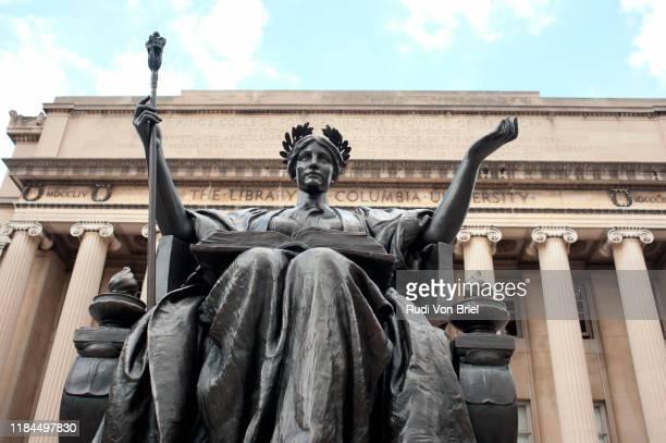 """alma mater"" sculpture on columbia university campus grounds. - columbia university stock pictures, royalty-free photos & images"