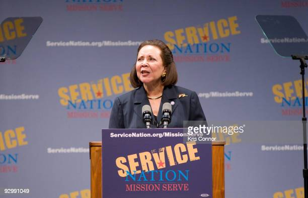 Alma Powell speaks during the ServiceNation launch of MISSION SERVE Forging A Continuum Of Service at George Washington University on November 11...