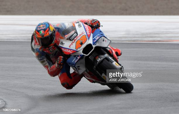 Alma Pramac Racing Australian rider Jack Miller rides during the first free practice session of the MotoGP Valencia Grand Prix at the Ricardo Tormo...
