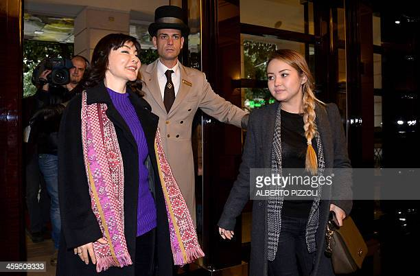 Alma Shalabayeva arrives to deliver a press conference flanked by her daughter Madina in Rome on December 27 2013 Shalabayeva the wife of a Kazakh...