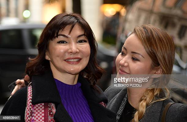 Alma Shalabayeva arrives with her daughter Madina for a press conference after she arrived in Rome on December 27, 2013. Shalabayeva, the wife of a...