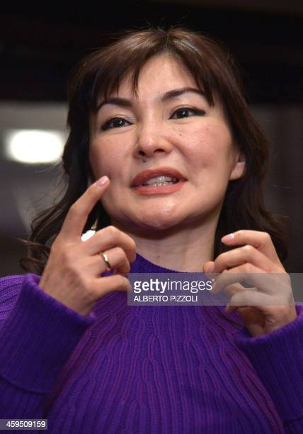 Alma Shalabayeva gestures during a press conference after she arrived in Rome with her daughter on December 27, 2013. Shalabayeva, the wife of a...
