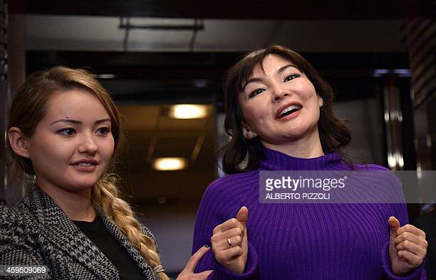 Alma Shalabayeva gestures during a press conference flanked by her daughter Madina after she arrived in Rome on December 27, 2013. Shalabayeva, the...
