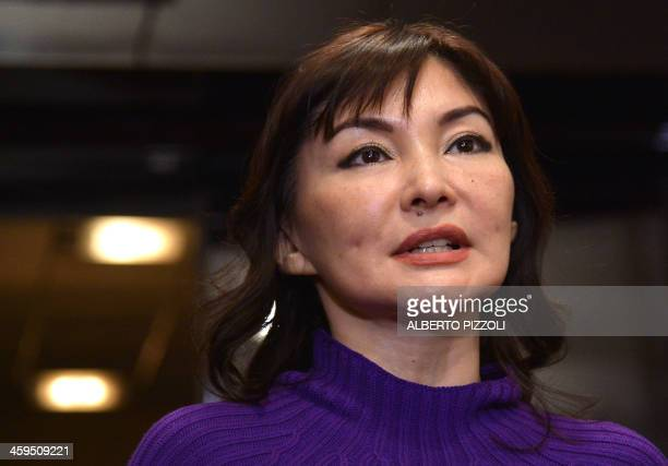 Alma Shalabayeva speaks during a press conference after she arrived in Rome with her daughter on December 27, 2013. Shalabayeva, the wife of a Kazakh...