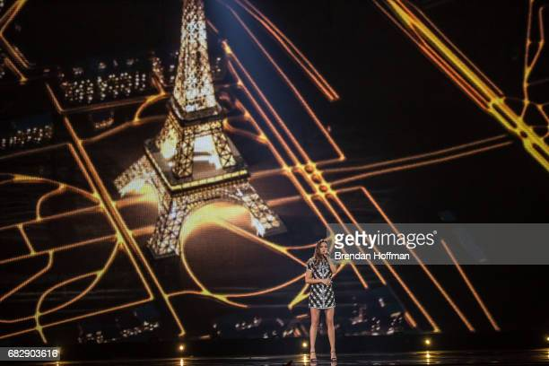 Alma the contestant from France performs during a rehearsal for Eurovision on May 10 2017 in Kiev Ukraine Ukraine is the 62nd host of the annual...