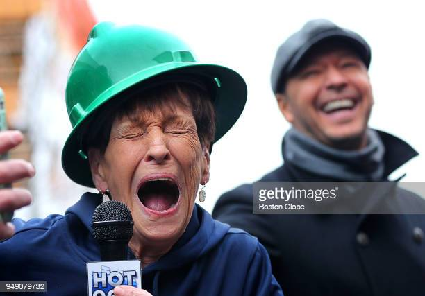 Alma Wahlberg laughs out loud as she speaks about raising her kids in Dorchester as her son Donnie laughs with her at an unveiling of a new...