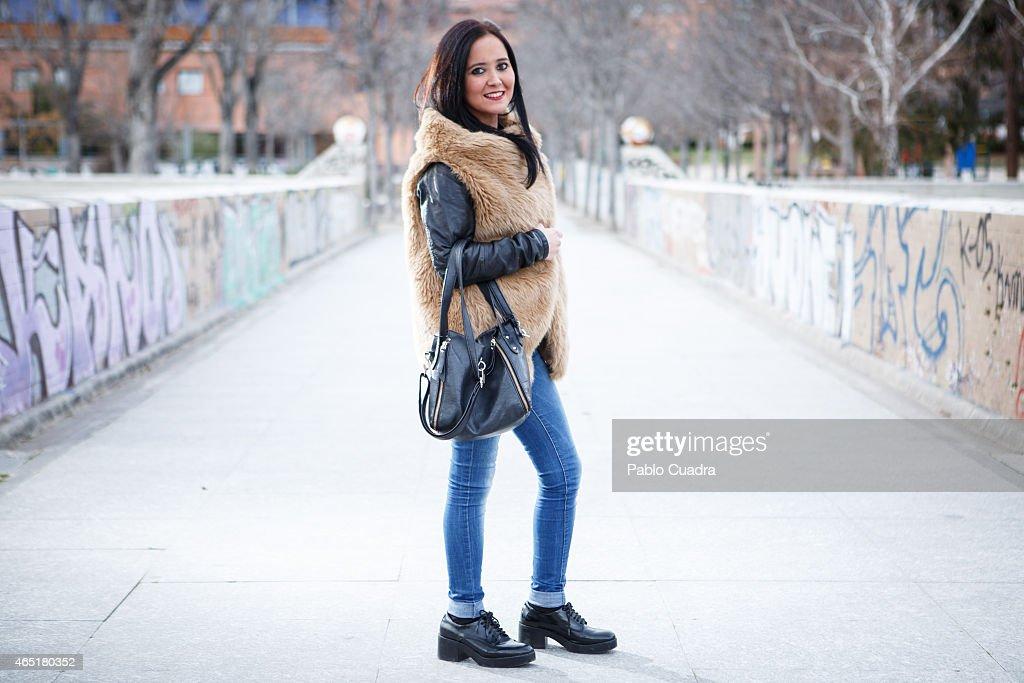 Alma wears Zara shoes and vest, Bershka jacket, Stradivarius trousers and La Marisa Handbag on March 3, 2015 in Madrid, Spain.