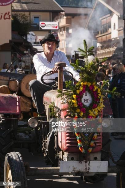 Almabtrieb transhumance festival, tractor in parade