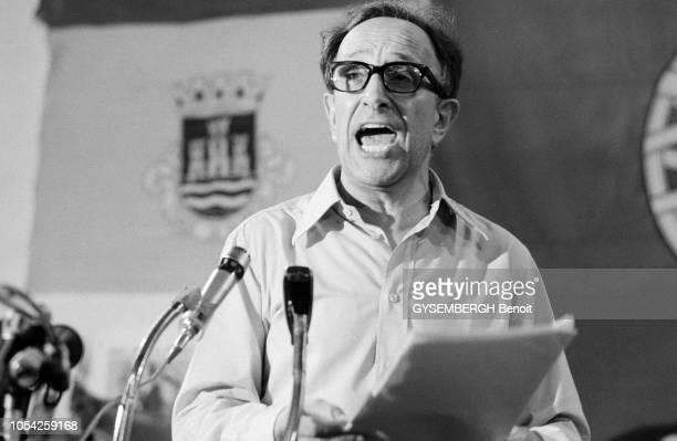 Almada Portugal 18 août 1975 Discours véhément du général Vasco GONCALVES Premier ministre du IVe gouvernement provisoire portugais devant ses...