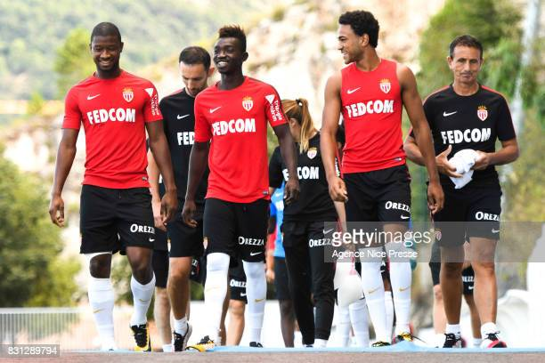 Almamy Toure Adama Traore and Jordi Mboula of Monaco during training session of As Monaco on August 11 2017 in Monaco Monaco