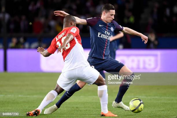 Almamy Toure of AS Monaco Julian Draxler of Paris Saint Germain during the French League 1 match between Paris Saint Germain v AS Monaco at the Parc...