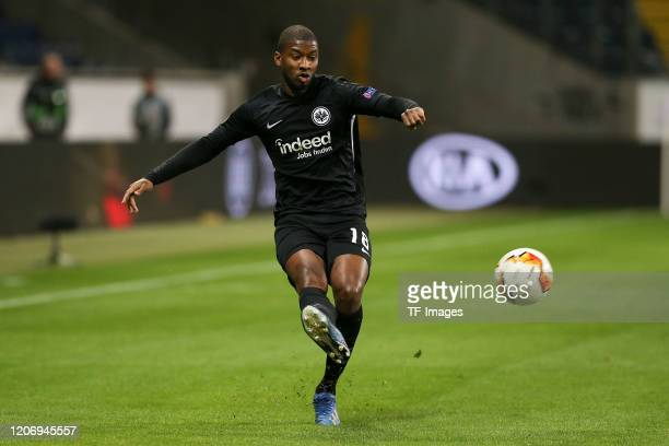 Almamy Toure of Eintracht Frankfurt during the UEFA Europa League round of 16 first leg match between Eintracht Frankfurt and FC Basel at Commerzbank...