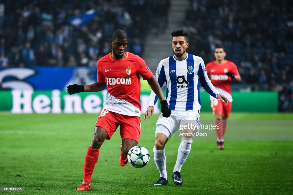 Almamy Toure of Monaco and Alex Telles of Porto during the Uefa Champions League match between Fc Porto and As Monaco at Estadio do Dragao on December 6, 2017 in Porto, Portugal.