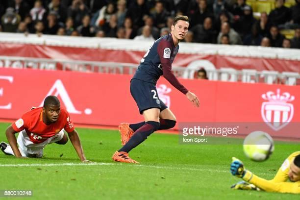 Almamy Toure of Monaco and Julian Draxler of Psg during the Ligue 1 match between AS Monaco and Paris SaintGermain at Stade Louis II on November 26...