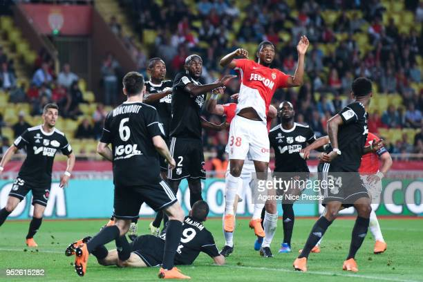 Almamy Toure of Monaco and PrinceDesir Gouano of Amiens during the Ligue 1 match between AS Monaco and Amiens SC at Stade Louis II on April 28 2018...