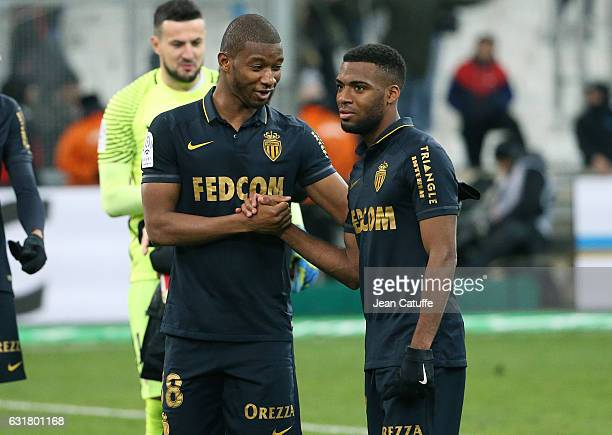 Almamy Toure of Monaco greets Thomas Lemar of Monaco following the French Ligue 1 match between Olympique de Marseille and AS Monaco at Stade...