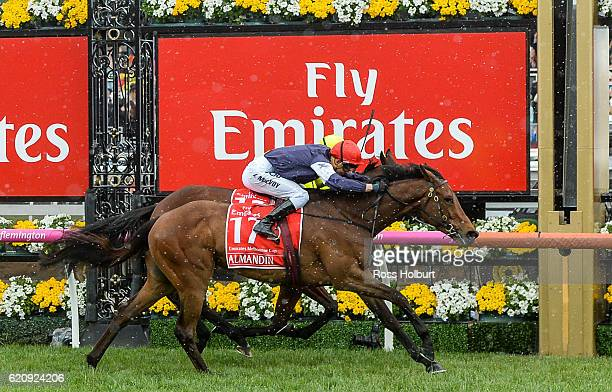 Almandin ridden by /17/ wins Emirates Melbourne Cup at Flemington Racecourse on November 01 2016 in Flemington Australia