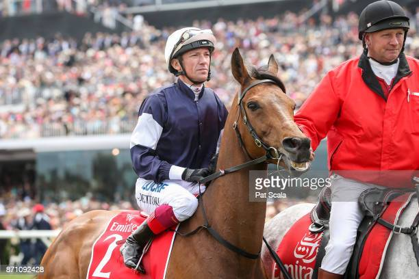 Almandin ridden by Frankie Dettori heads to the barrier before the Emirates Melbourne Cup at Flemington Racecourse on November 07 2017 in Flemington...
