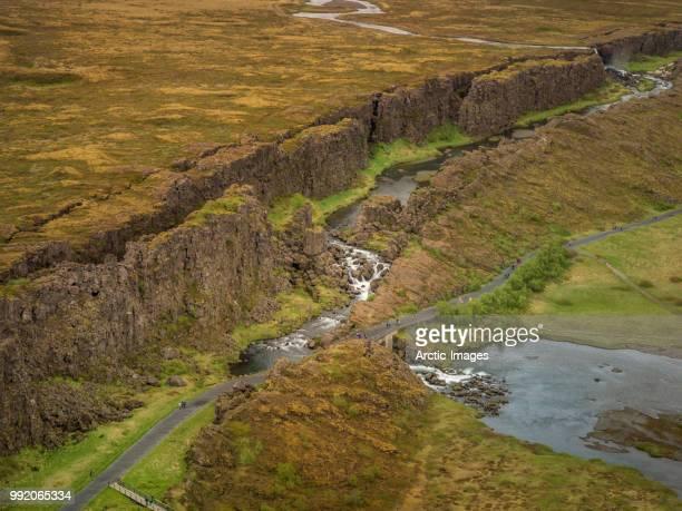 almannagja fault line , oxara river, thingvellir, iceland - thingvellir national park stock photos and pictures