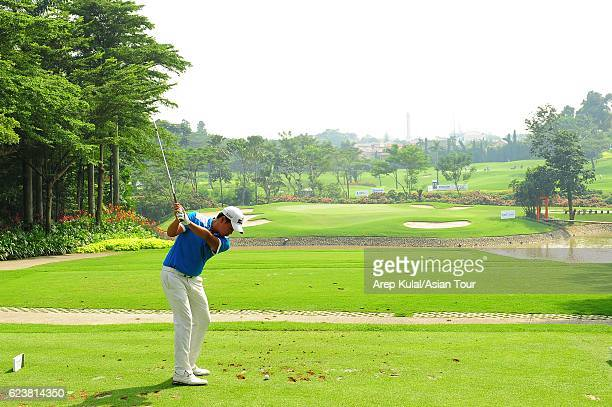 Almay Rayhan Yaqutah of Indonesia plays a shot during round one of the BANK BRIJCB Indonesia Open at Pondok Indah Golf Course on November 17 2016 in...