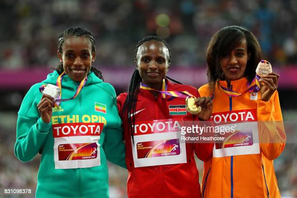 Almaz Ayana of Ethiopia silver Hellen Onsando Obiri of Kenya gold and Sifan Hassan of the Netherlands bronze pose with their medals for the Women's...