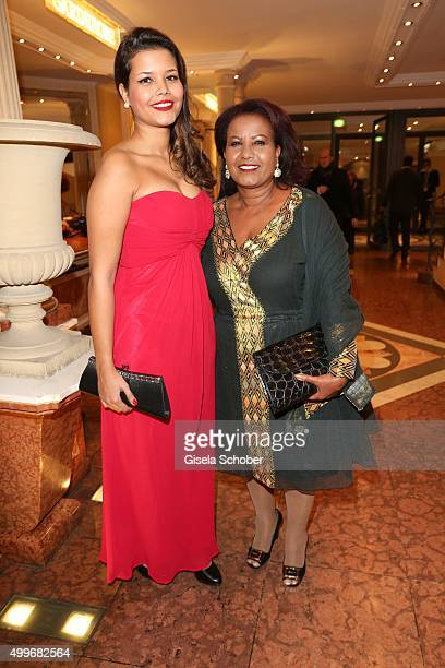 Almaz Boehm widow of Karlheinz Boehm and her daughter Aida Boehm attend the Audi Generation Award 2015 at Hotel Bayerischer Hof on December 2 2015 in...