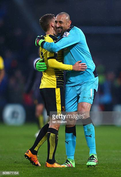 Almen Abdi and Heurelho Gomes of Watford celebrate their 21 win in the Barclays Premier League match between Crystal Palace and Watford at Selhurst...