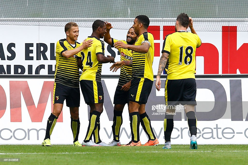 Almen Abdi, Odion Ighalo, Ikechi Anya, Troy Deeney and Daniel Pudil of Watford celebration the Goal 0:2 during the pre-season friendly match between SC Paderborn and Watford FC at Benteler Arena on July 19, 2015 in Paderborn, Germany.
