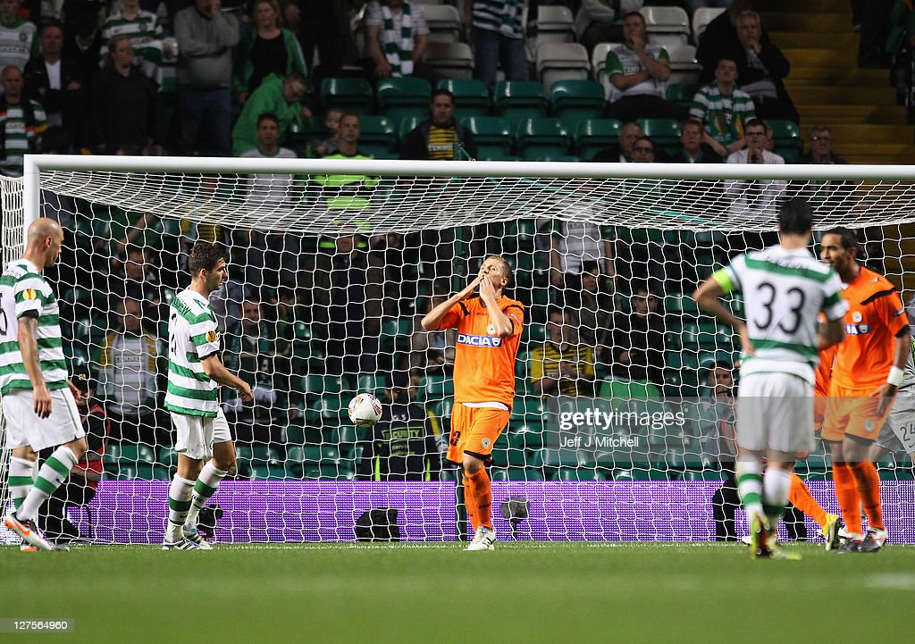 Almen Abdi of Udinese reacts after scoring the equalizer during the Europa League Group I match between Celtic and Udinese at Celtic Park on September 29, 2011 in Glasgow, United Kingdom.
