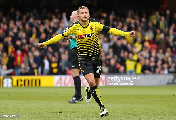 Almen Abdi of Watford celebrates scoring his team's first goal during the Barclays Premier League match between Watford and Aston Villa at Vicarage...