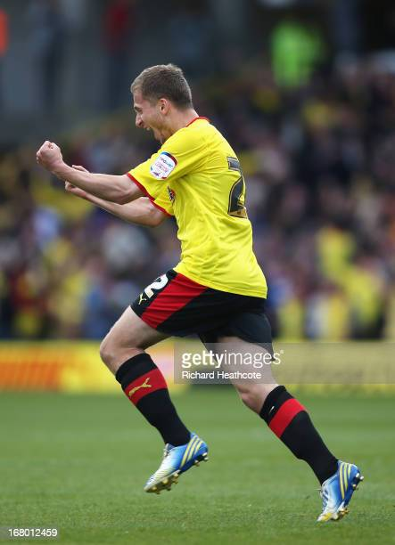 Almen Abdi of Watford celebrates scoring his team's opening goal during the npower Championship match between Watford and Leeds United at Vicarage...