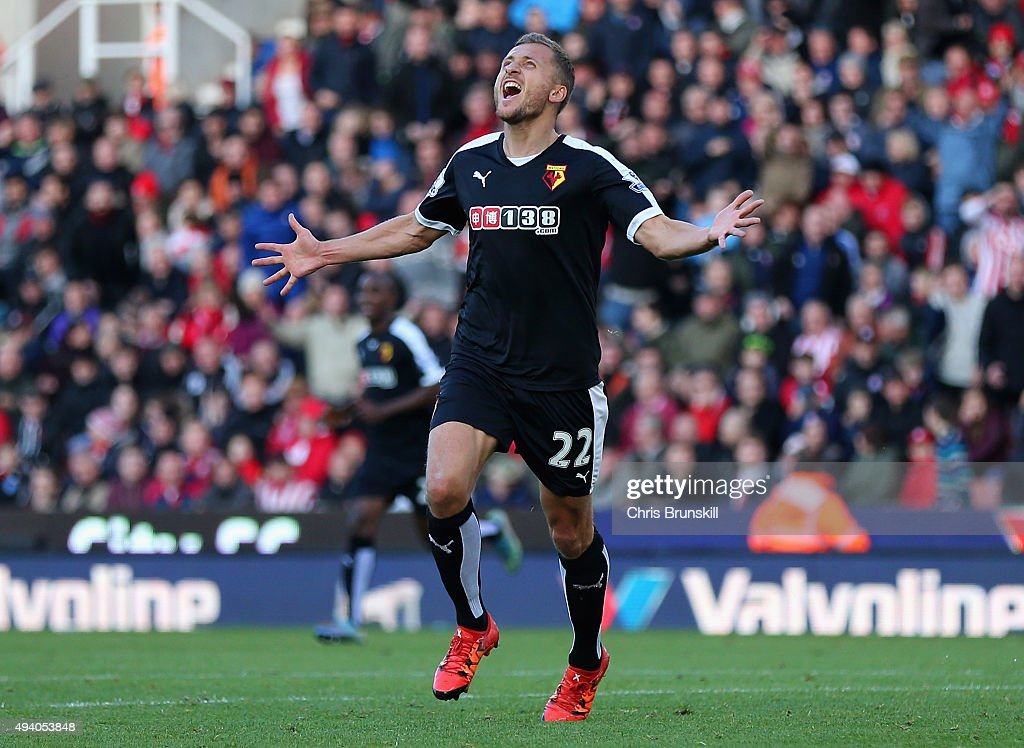 Almen Abdi of Watford celebrates scoring his team's second goal during the Barclays Premier League match between Stoke City and Watford at Britannia Stadium on October 24, 2015 in Stoke on Trent, England.