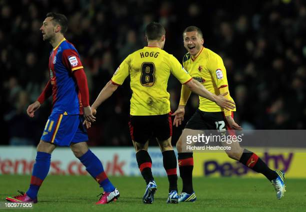 Almen Abdi of Watford celebrates scoring the opening goal during the npower Championship match between Watford and Crystal Palace at Vicarage Road on...